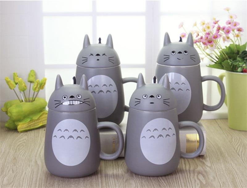 500ML Cute Cartoon My Neighbor Totoro <font><b>Mug</b></font> With Cover Ceramic <font><b>Cup</b></font> <font><b>Large</b></font> <font><b>Capacity</b></font> Camp Office Use <font><b>Water</b></font> Bottle Creative Gift