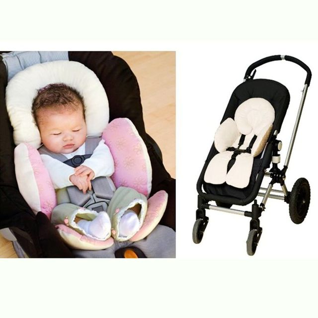 Pram Baby Stroller Seat Cushion Reversible Body Support Pad Mat Car Carriers Head