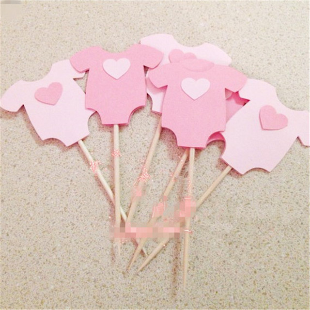 10Pcs Baby Shower Its a Boy Girl Clothes Cupcake Toppers Birthday Party Decorations Kids Favors Supplies