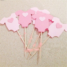 10Pcs Baby Shower Its a Boy Girl Clothes Cupcake Toppers Bir