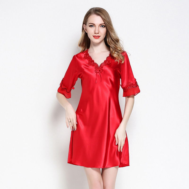 NEW Satin Silk Lace Porn Night Dress Women Summer Nightgown Pull Size Mini Sleepwear V-neck Female Sexy Lingerie Red Pink