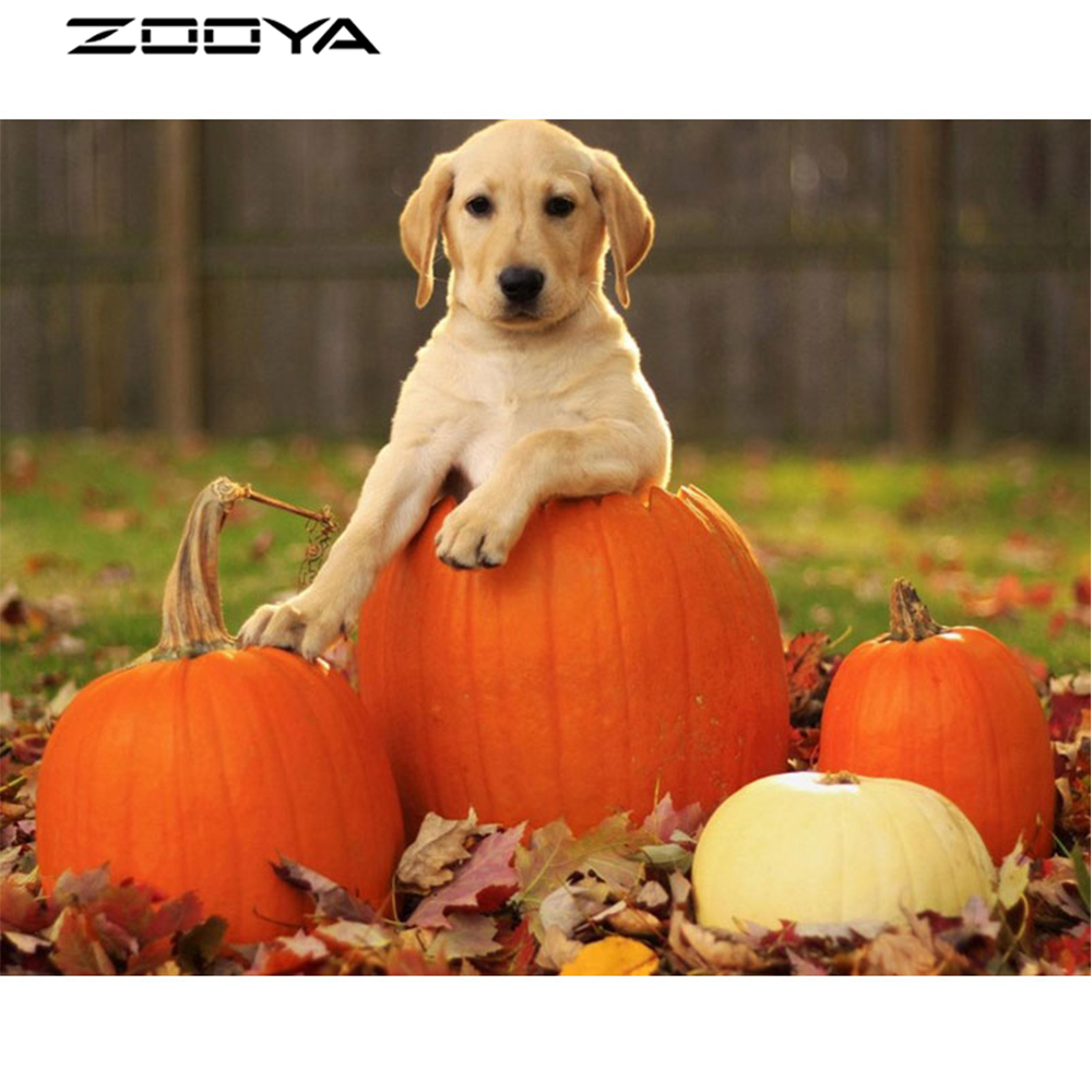ZOOYA 3D DIY Diamond Embroidery Painting Wall Stickers Kids Party Gifts The Dog Lying On The Pumpkin Diamond Mosaic Sale AT1381