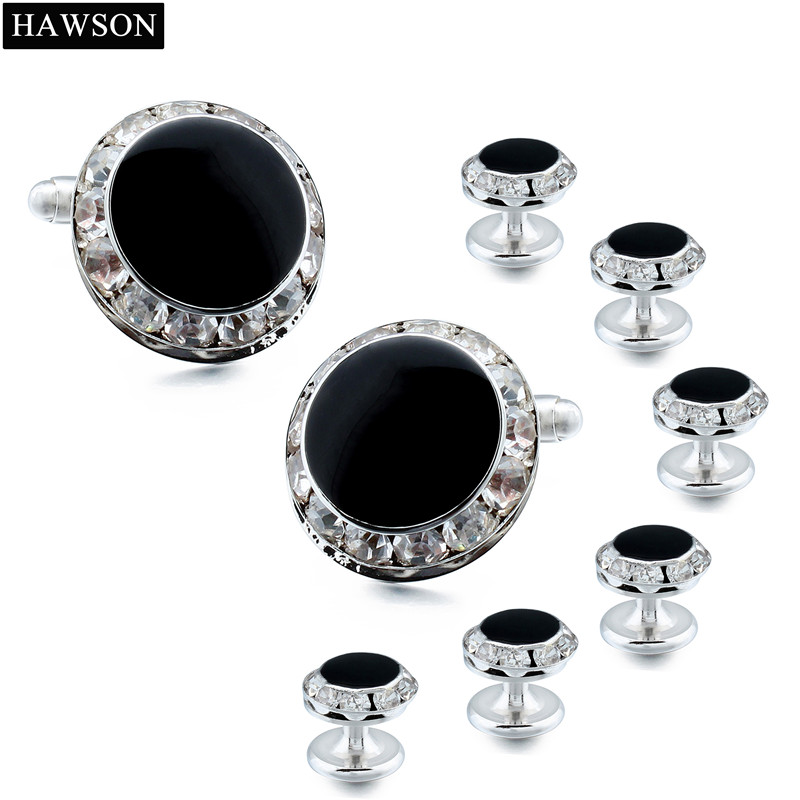 Classic Black Enamel Crystal Cuff Links Studs Tuxedo Shirt Jewelry Polished Mens Wedding Gift, Cufflinks High Quality