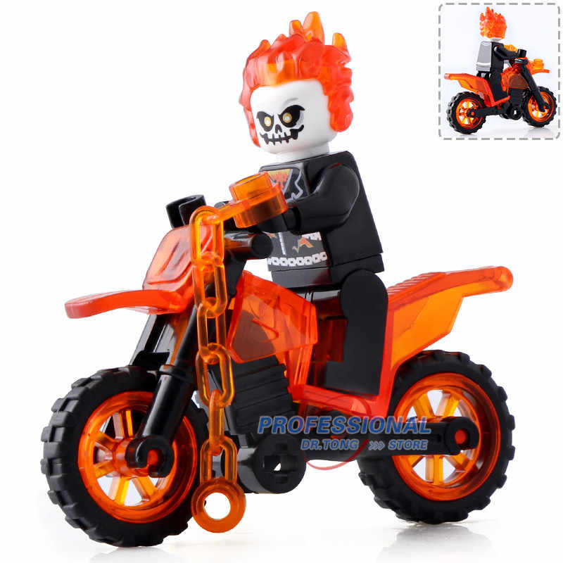 DA030 Super Heroes Ghost Rider With Motorcycle Matt Murdoch Bricks Action Collection Building Blocks For Children Gift Toys