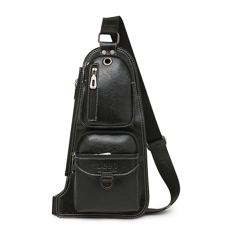 Image 5 - JEEP BULUO BRAND New Men Messenger Bags Hot Crossbody Shoulder Bag Famous Man's Leather Sling Chest Bag Fashion Casual 6196-in Crossbody Bags from Luggage & Bags