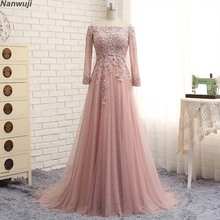 Real PhotoLuxury  bean Red Boat neck Off -shoulder Long Sleeve Evening dresses In lace and Crystals Backless Prom Dresses