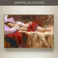 Expert Artist Hand painted High Quality Sexy Girl Oil Painting on Canvas Handmade Sex Lady Sleeping Oil Painting for Wall Art