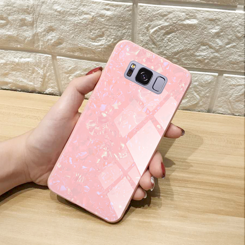 Back Tempered Glass Cover for Samsung Galaxy S8 S9 Plus Case Plating Soft TPU Glass Case for Samsung Note 8 9 Case Cover Coque in Fitted Cases from Cellphones Telecommunications