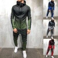 2019 Fashion Brand Mens Tracksuit 2 Piece Set 3D Gradient Color Casual Hoodies Sweatshirt And Pants Sportswear Joggers Men Sets