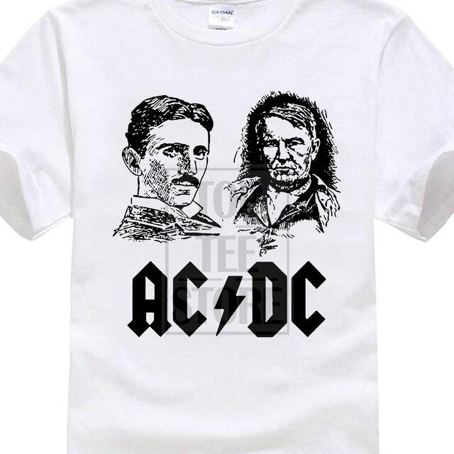 c9c390d07 2018 Mens T Shirts Fashion Cotton Acdc T shirt Nikola Tesla Thomas Edison  Funny T Shirts Men Summer Short Sleeve Tee Shirt Homme