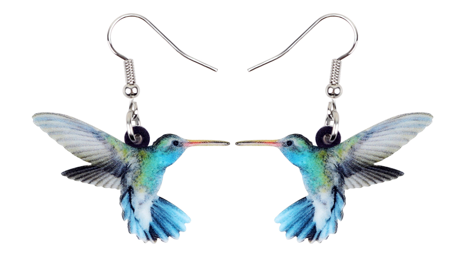 Bonsny Acrylic Flying Voilet Sabrewing Hummingbird Bird Earrings Big Long Dangle Drop Fashion Animal Jewelry For Women Girls Kid 3