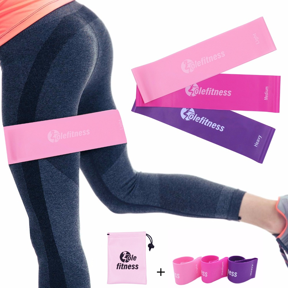 Elastic Bands For Fitness Extra Width 7.5cm Loop Set Non-Roll Up Workout Pink Leg Butt Band Yoga Pilates Stretching 100%Latex