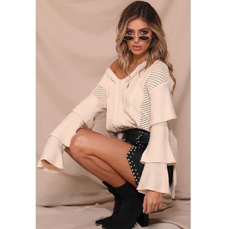MUXU sweater fashion long sleeve knitted fall fashion sueteres mujer de moda pullovers white jumpers in Pullovers from Women 39 s Clothing