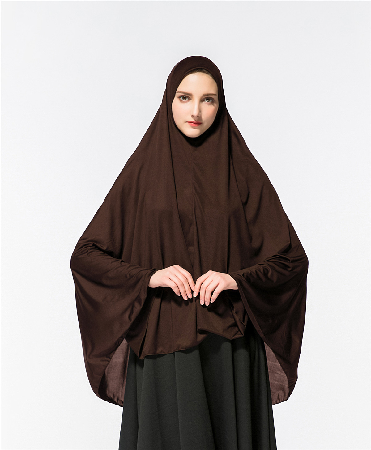 Muslim Ladies Pure Colored One Piece Long HIJAB (exclude skirt) 110cm  120cm  130cm 140cm
