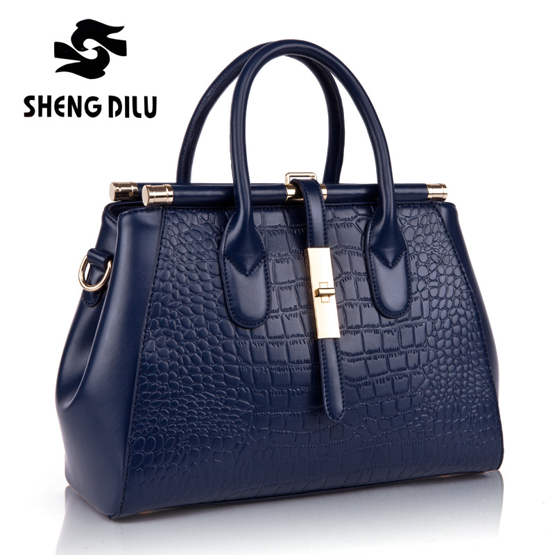 handbag shengdilu brand new 2018 women genuine leather tote Autumn Winter shoulder Messenger bag free Shipping цена