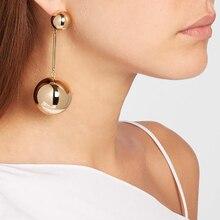 Punk Style Big Metal Beads Earrings Long Drop Earrings Women Party Statement Hanging Dangle Earrings JURAN Fashion Jewelry