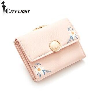 Women Small Wallet Cute Fresh Floral Mini Hasp Purses Female Short Coin Purse Credit Card Holder Ladies Three Fold Wallets New