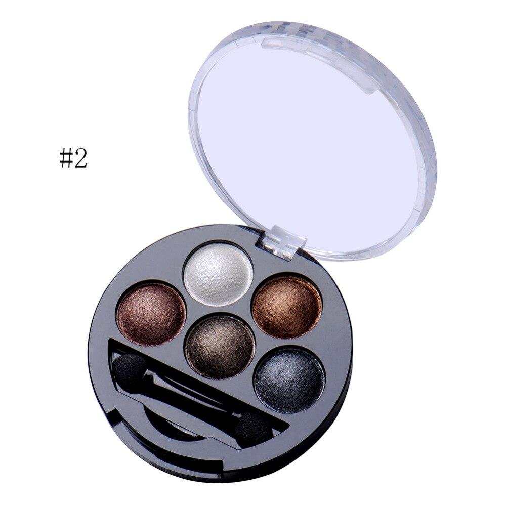 Hot 1 Pcs 5 Cores Baked Eyeshadow Sombra Em Pó Metallic Shimmer Cor Quente Paleta Da Sombra Com Escova Da Sombra de Cosméticos
