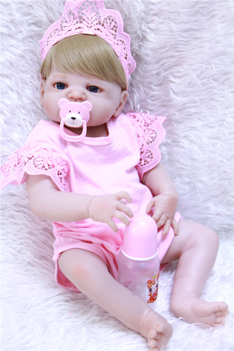 New full silicone reborn baby dolls 55cm girl body newborn babies blonde hair wig magnetic pacifier