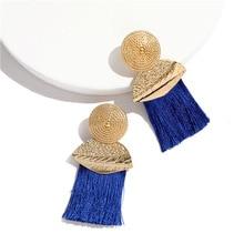 купить New Exaggerated Big Tassel Statement Earrings for Women Gold Geometric Long Tassel Earings Fringed Earings Fashion Jewelry 2019 дешево