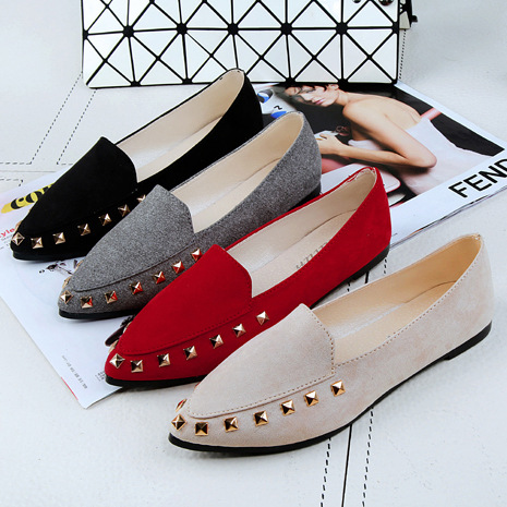 2018 Flat Shoes Women Spring Autumn Slip-on Fashion Rivet Female Shoes Sexy Party Suede Lazy Woman One Pedal Single Ladies Flats cresfimix women cute spring summer slip on flat shoes with pearl female casual street flats lady fashion pointed toe shoes