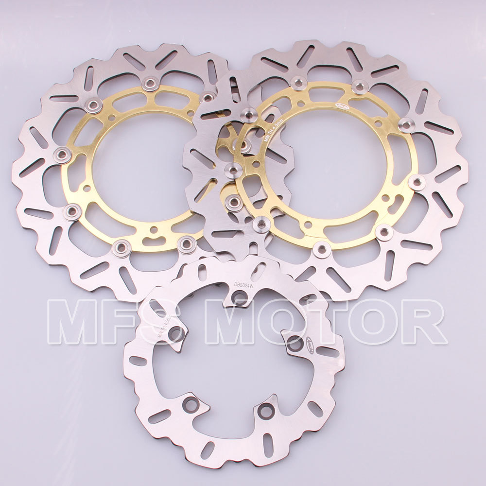 Front Rear Brake Discs Rotor For Yamaha YZF R1 2007 2008 2009 2010 2011 2012 2013 YZF R6 2006 2007 2008 2009 2010 2011 2012 Gold car rear trunk security shield shade cargo cover for nissan qashqai 2008 2009 2010 2011 2012 2013 black beige