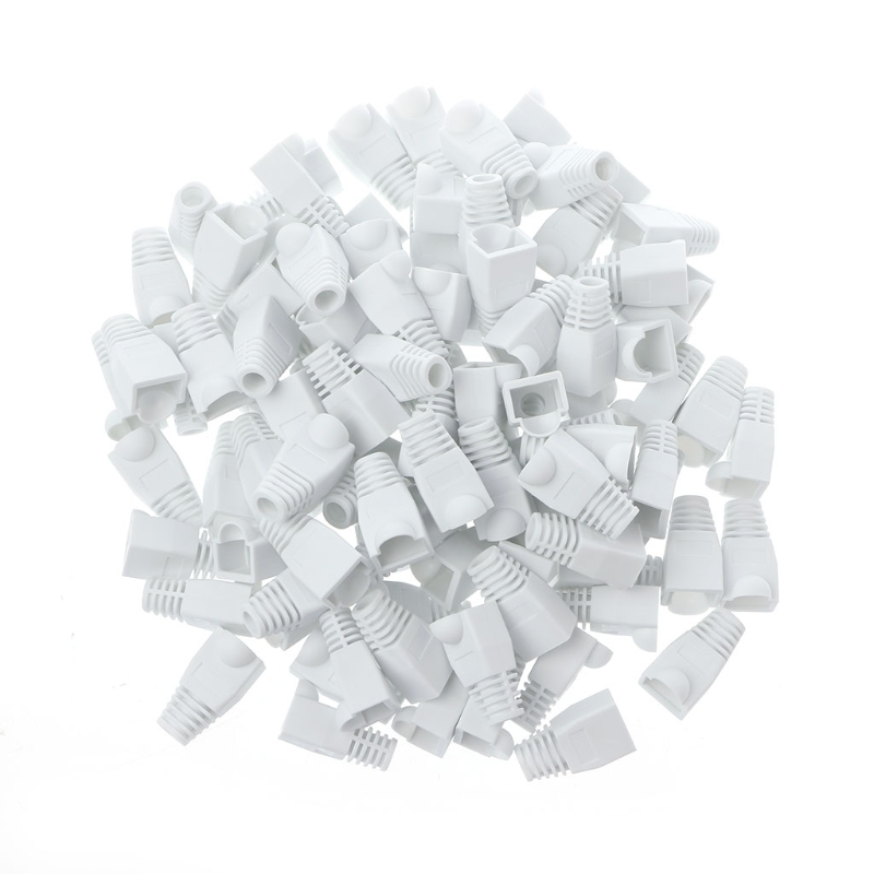 100Pcs White RJ45 Connector Relief Boot Caps Network Cable Plug Cap Cover Network Jack Plug For Cat5 Cat6 Cable