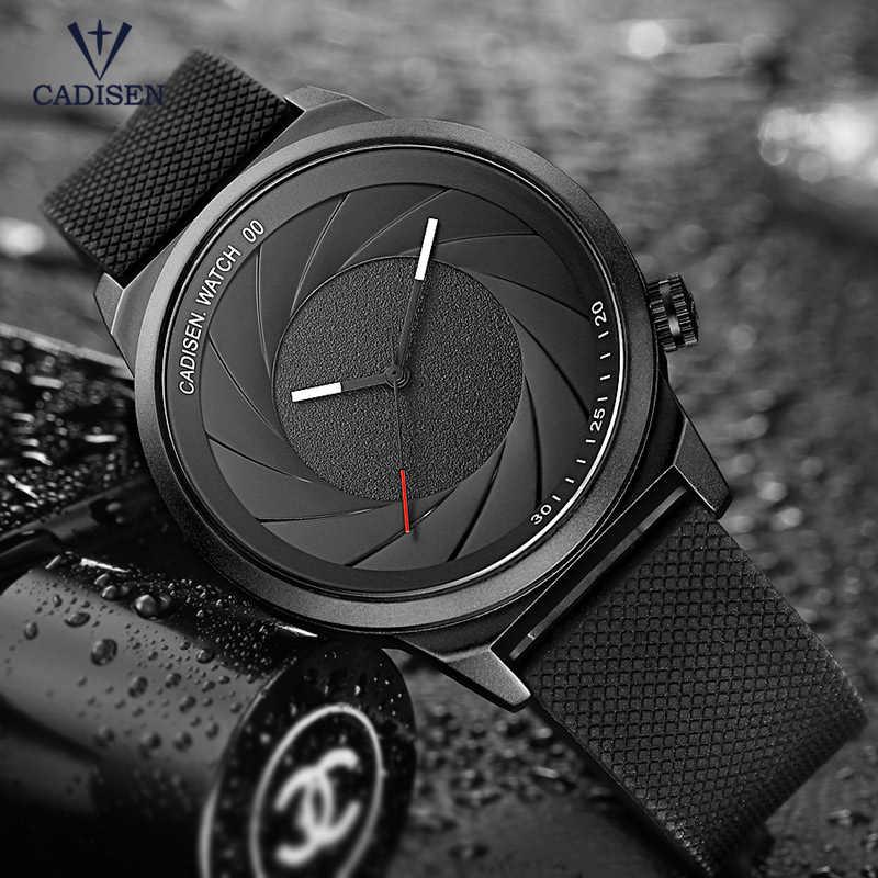Cadisen Men's Simple Analogue Quartz Watches Fashion Casual Wristwatch with Silicone Band for Man Boys Black CL9056G-1 xinkai 0015 children s casual silicone band quartz analog wristwatch black red 1 x 377