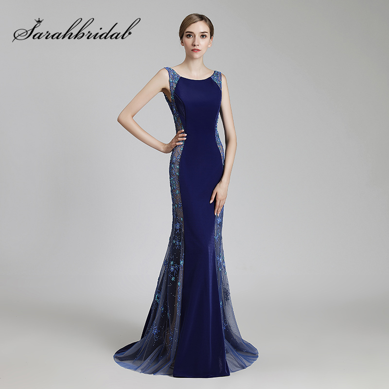 2019 Luxury Beading Celebrity Dresses Sexy Illusion Long Red Carpet Dress Formal Royal Blue Mermaid Evening Party Gowns OL506