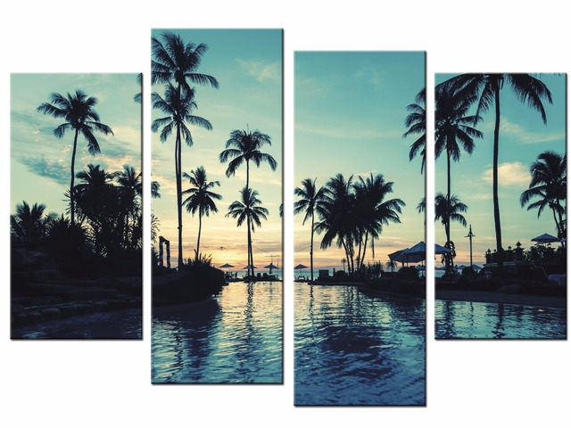 4 Panels Framed Sunset coconut trees Painting Canvas Wall Art ...