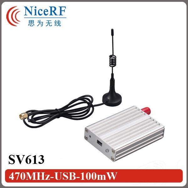 2 unids/lote SV613 433 MHz Si4432 100 mW interfaz USB multi-canal de 1.4Km transmisor inalámbrico con Antena Lechón