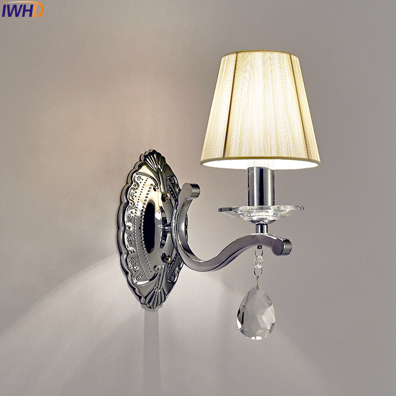 IWHD Modern Crystal LED Wall Light For Bedroom Living Room Beside Lamp Cristal LED Wall Sconce Stair Lights Arandela Lustres iwhd nordic modern led wall lamp living room fabric switch led wall light stair arandela lampara pared