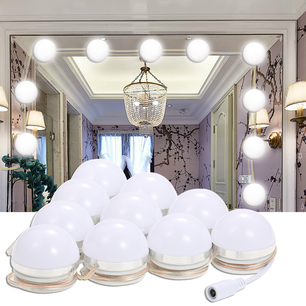 Us 20 93 40 Off Makeup Mirror Led Lights 10 Hollywood Vanity Light Bulbs For Dressing Table With Dimmer And Plug In Linkable Not Included