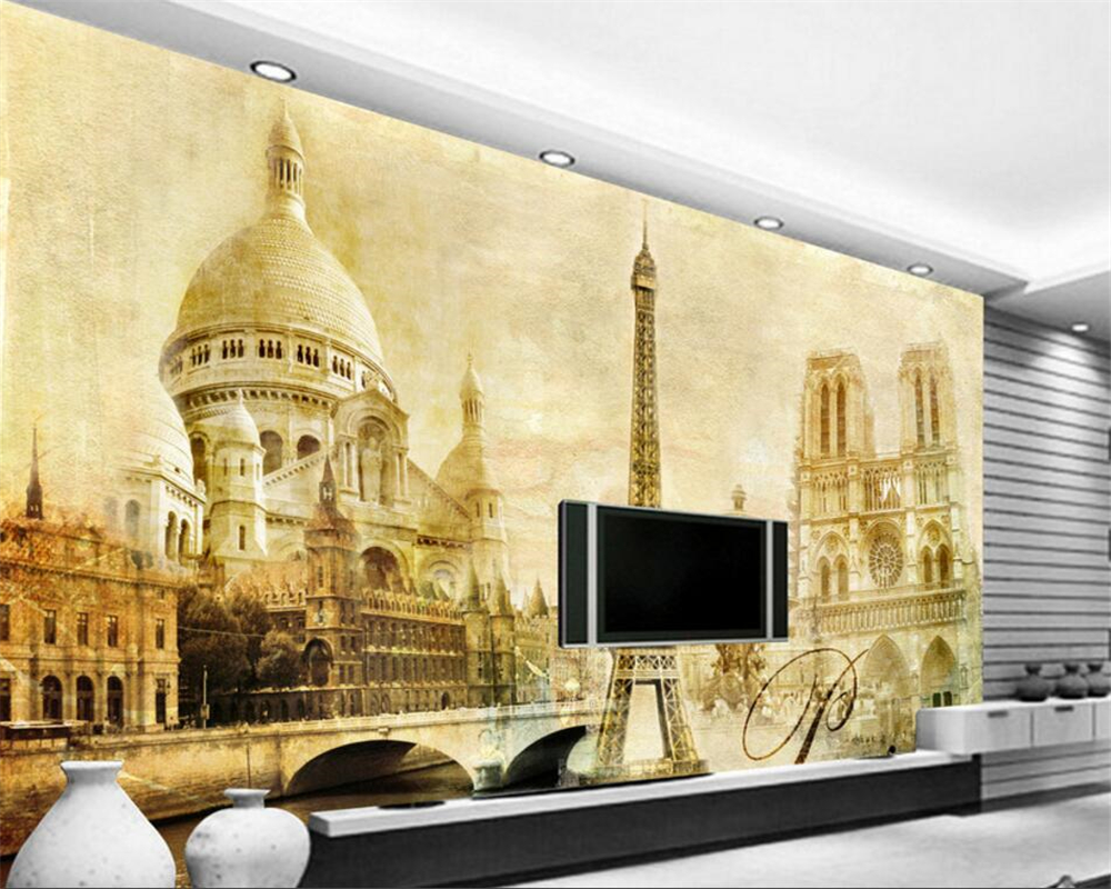 popular custom paris wallpaper buy cheap custom paris wallpaper beibehang custom wallpaper european classical paris tower architecture tv backdrop living room bedroom wallpaper for walls