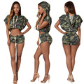 Camouflage Crop Top And Shorts Set 2016 European Style Batwing Sleeves Hooded T-Shirt Casual Shorts Loose Two Piece Set