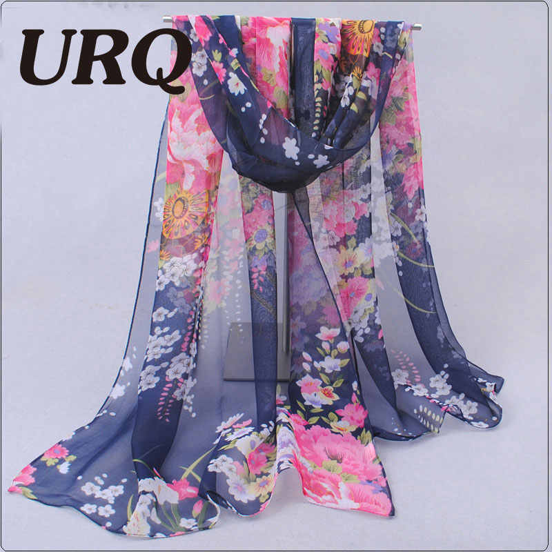 Primavera Stile Chiffon Lungo sciarpe di Seta 50*160 cm stile Floreale fiori stampa Floreale sciarpe Donna Sciarpa Q5A16281