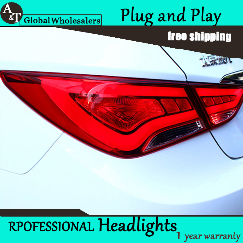 Car Styling for Hyundai Sonata Taillights 2011-2014 Sonata LED Tail Light GLK LED Rear Lamp DRL+Brake+Park+Signal free shipping 2pc lot car led lamp canbus rear turn signal light bulb for 2016 hyundai sonata