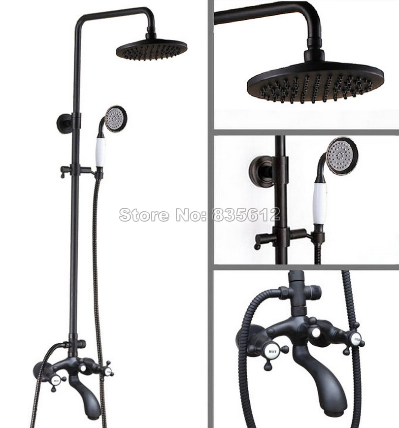 Black Oil Rubbed Bronze Wall Mounted Bathroom Rain Shower Faucet Set With Hold Shower Dual Handles Bath Tub Mixer Tap Whg116