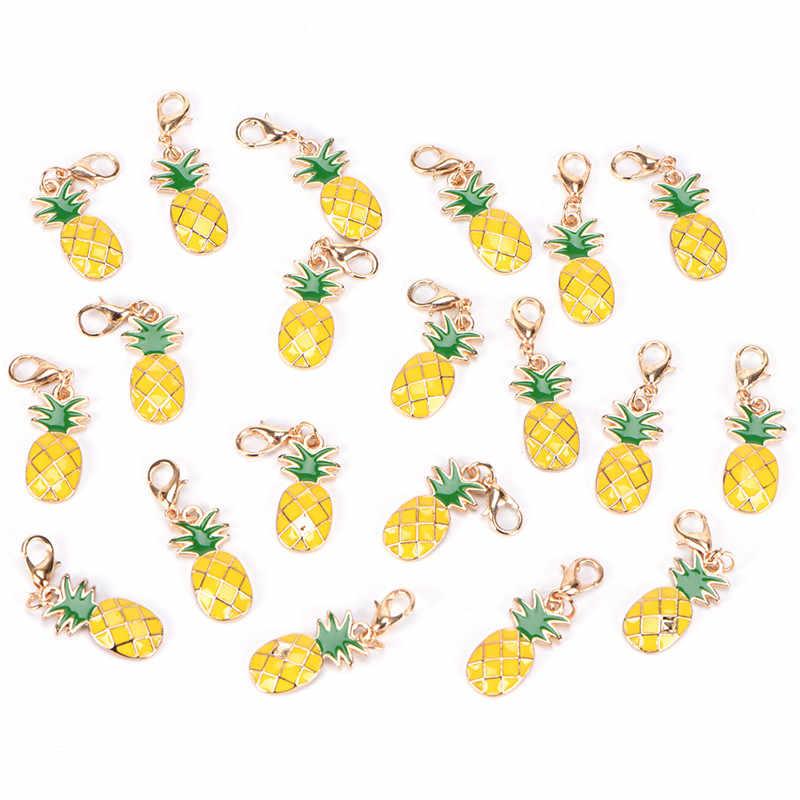1 pz Chiave Keychain Dell'automobile Anello di Smalto Ananas Frutta Del Pendente Pendenti e Ciondoli di Chiusura Della Borsa 1.3in * 0.3in