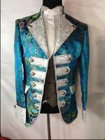 Three piece suit Blue Flower court dress men's bar singer court performance clothes European nightclub show stage costumes