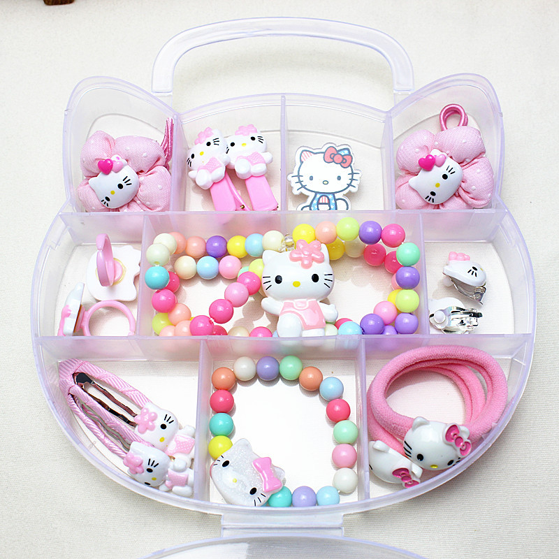 10-15pcs Hello Kitty Accessories Hair Clips Elastic Hair Bands Headband Necklace Christmas Birthday Gift Set For Children KIDS