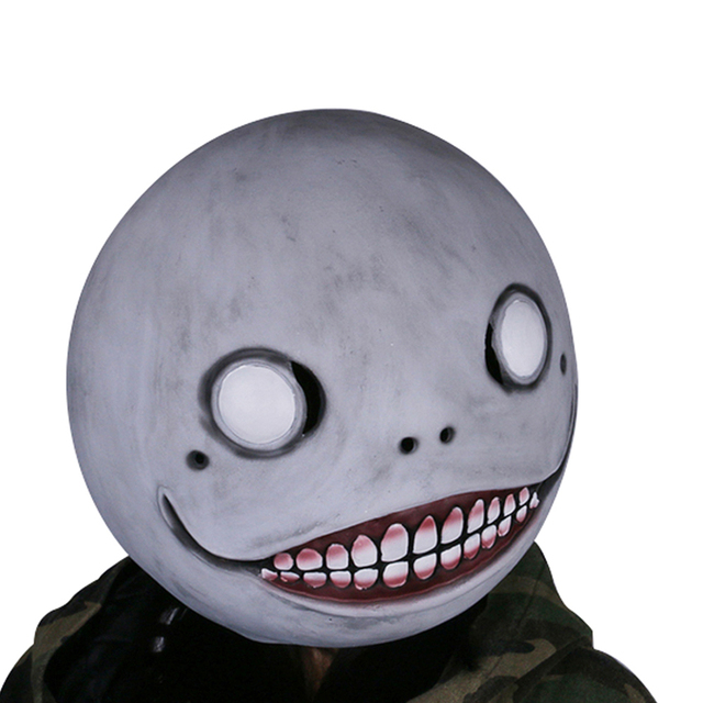 Coslive NieR Automata Emil Mask Gray Latex Mask Head Hood Mask for Halloween Cosplay Family Party Prop
