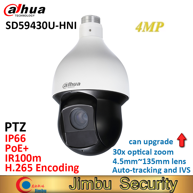 Dahua 4MP PTZ camera SD59430U-HNI H.265 30x optical zoom 4.5mm~135mm lens Auto-tracking and IVS Support PoE+ IR100m IP66 WDR dahua 4mp ptz camera sd59430u hni h 265 30x optical zoom 4 5mm 135mm lens auto tracking and ivs support poe ir100m ip66 wdr