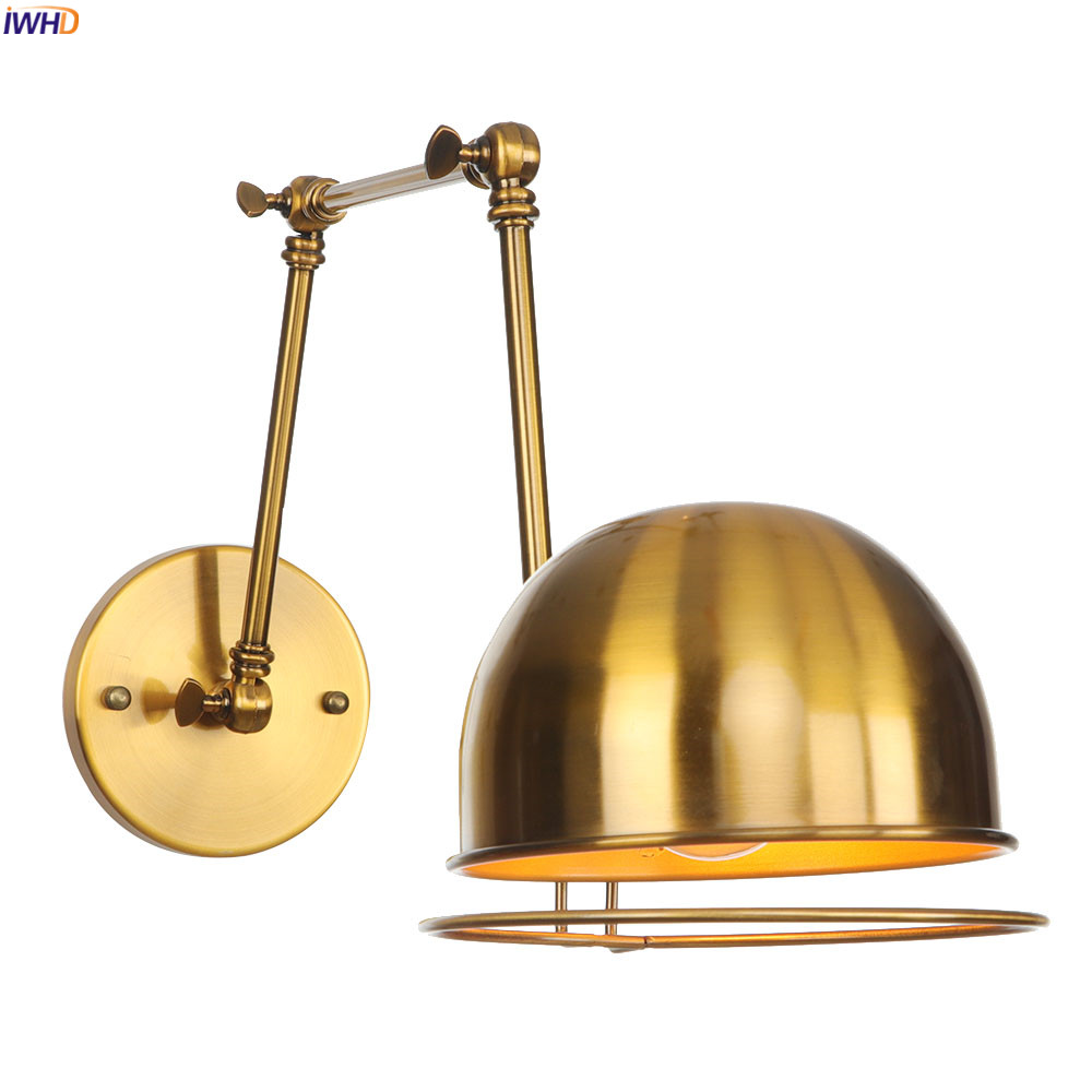 IWHD Noric Style Rustic Gold Wall Lamp Bedroom Beside Stair Light Edison Loft Industrial Retro Wall Lights Fixtures Luminaire