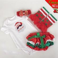 Kids Newborn Baby Girl Clothing Set Infant Christmas Clothes Bodysuit+Culottes+Leg Warmer+Headband 4PCS For Babies Free Shipping