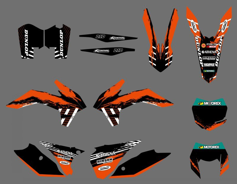 NEW TEAM GRAPHICS DECALS STICKERS BACKGROUNDS FOR KTM 125 200 250 300 450 500 EXC XCF