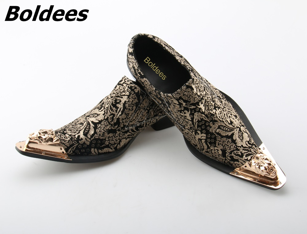 Boldees Italian Leather Mens Dress Shoes Vintage Metal Pointed Toe Chaussure Homme Luxury Male Formal Party Flats Shoes Big Size women ladies flats vintage pu leather loafers pointed toe silver metal design
