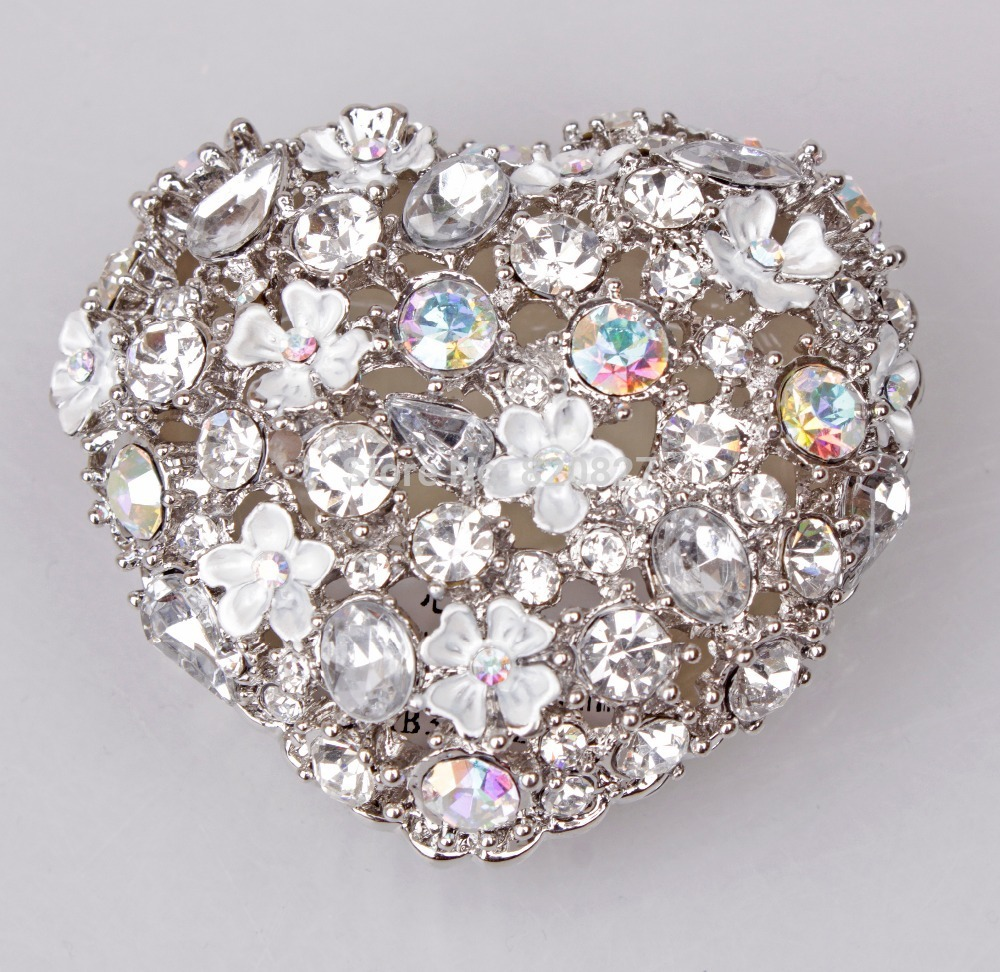 Pewter Heart Shaped Jewelry Box Silver Crystal with Floral Flower ...