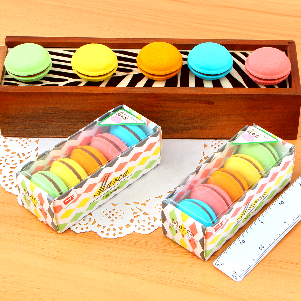 5Pcs/Pack New Kawaii Colorful Cake Rubber Eraser Creative Macaron Pencil Eraser Candy Color For Kids Student Gift Novelty E2006