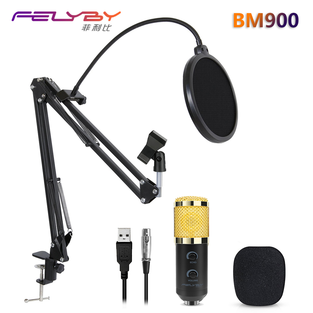 FELYBY mikrofon bm 800 aggiornato bm 900 USB professionale microfono per computer microfono a condensatore da studio microfoni karaoke